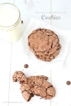 Flourless Chocolate Brownie Cookies - Mother Thyme