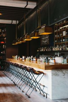 This is the bar at Ford Fry's King & Duke in Atlanta. Steal the Style: 10 Restaurant Interiors to Inspire Your Kitchen Renovation Design Bar Restaurant, Deco Restaurant, Butcher Block Restaurant, Restaurant Counter, Luxury Restaurant, Restaurant Ideas, Café Bar, Design Café, Cafe Design