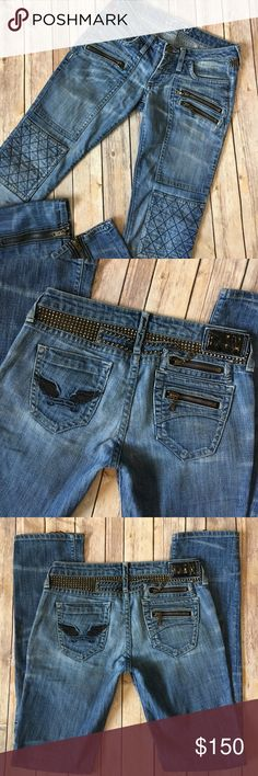 "Robins Jeans Giacomo Skinny Moto Studded Zip Ankle The tag size is 27. The waist measures 16"" across, the rise is 7"" and the inseam is 35"" LONG! Great used condition.  Always open to reasonable offers! Robin's Jeans Jeans Skinny"