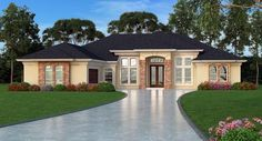 Find your dream mediterranean style house plan such as Plan which is a 2635 sq ft, 4 bed, 3 bath home with 2 garage stalls from Monster House Plans. Tuscan House Plans, Dream House Plans, Modern House Plans, Mediterranean Homes Exterior, Mediterranean House Plans, Mediterranean Decor, Mediterranean Architecture, Tuscan Homes, Design Exterior