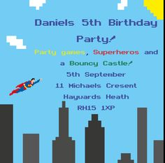 This Printable birthday invitation is of the man of steel himself flying over a…