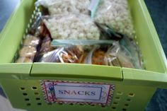 Being a pretty busy family, one of the things we have done to make things easier when on the go, is whip up a basket of pre-portioned snacks...
