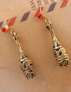 Red Diamond Gold Vase Dangle Earrings