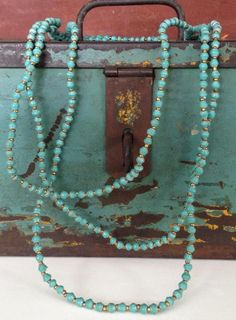 Vintage Three Strand Turquoise and Gold Bead Necklace. Neck JUNK.