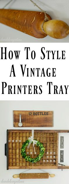 Love the vintage farmhouse style look of printers trays but not sure how to use them? Look no further. Check out this adorable vignette.