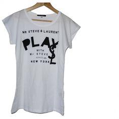 WHITE t-shirt mr steve laurent PLAY