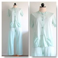 Shadowline Mint Green Nylon Loungewear Pajama Set Size 32/34 Made in USA from VintageHag.com, $30.00