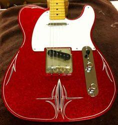 Crook Guitars Red Metalflake T-style pinstripe guitar Vintage Electric Guitars, Cool Electric Guitars, Vintage Guitars, Guitar Shop, Music Guitar, Cool Guitar, Fender Stratocaster, Fender Guitars, Guitar Images