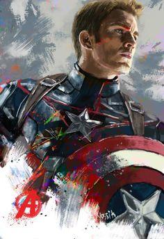 "Painting, ""Captain America"" - Marvel Fan Arts and Memes Marvel Avengers, Marvel Comics, Iron Man Avengers, Marvel Art, Marvel Heroes, Captain Marvel, Captain America Painting, Captain America Art, Captain America Wallpaper"