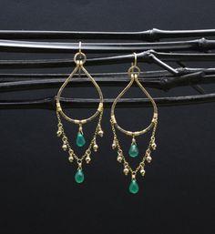 Green Gemstone Gold Chandelier Earrings.Hammered 14K Gold-Fill Precious Metal Wire Earrings w. Green Onyx & Pyrite. Limited Edition Earrings: