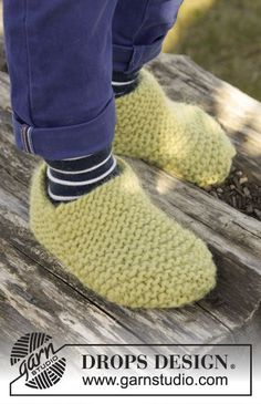 Lemon Jelly slippers for kids by DROPS Design. Free knitting pattern