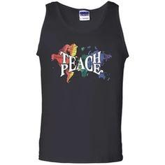 Hippie Teach Peace Teacher Peace World Map Black Tank Top Flower Children, Hippie Shirt, Ash Grey, Black Tank Tops, Digital Prints, Size Chart, Heather Grey, Cotton, Free