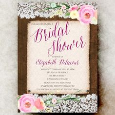 Burlap bridal shower invitation printable, lace bridal shower, pink bridal shower invitation, rustic bridal shower invitation by Printable and printed Wedding Invitations by Divine Find Paperie Burlap Bridal Showers, Beach Bridal Showers, Rustic Bridal Shower Invitations, Bridal Shower Centerpieces, Bridal Shower Rustic, Sangria, Invites, Printable, Fit