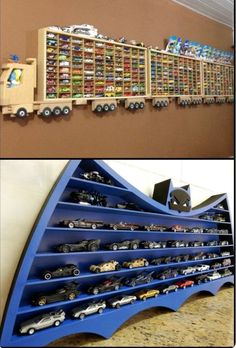 8 awesome Hot Wheels display ideas that toy car collectors will love! - Finance tips, saving money, budgeting planner Hot Wheels Storage, Hot Wheels Display, Toy Car Storage, Matchbox Car Storage, Baby Furniture Sets, Kids Furniture, Furniture Design, Repurposed Furniture, Garden Furniture