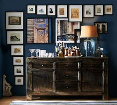 art gallery around console bar cabinet, Dawson Media Console | Pottery Barn