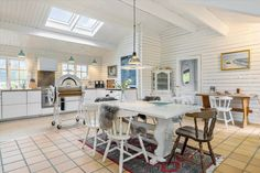 Miete Ferienhaus TV1409 in Tannisbugtvej 114, Tversted Danish Interior Design, Table, Furniture, Home Decor, Transom Windows, Small Places, Open Plan Kitchen, Vacation Places, Cottage House