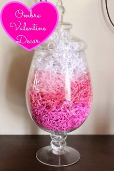 Ombre Valentine Decoration: use a paper shredder to shred different colors and then layer them in an apothecary jar. Simple but pretty! Valentines Day Decorations, Valentines Day Party, Valentine Day Crafts, Holiday Crafts, Holiday Fun, Valentine Ideas, Holiday Ideas, Valentines Breakfast, Festive