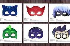 6-PJ-Masks-Printable-DIY-Mask-Favor-Ninja-Luna-Girl-Romeo-Catboy-Gecko-Owlette
