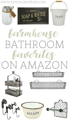 Farmhouse Bathroom Decor - http://www.kendallrayburn.com/2017/01/farmhouse-bathroom-decor/