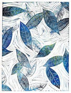 Linocut block print of falling leaves by Carrie Dennison - Illustration for inspiration ♥ Art And Illustration, Art Adulte, Linocut Prints, Art Prints, Block Prints, Wood Engraving, Art Design, Art Plastique, Printmaking