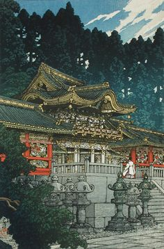 Yōmei Gate at Nikkō Kawase Hasui (Japan, 1883-1957) Japan, April, 1930 Prints; woodcuts Color woodblock print Image: 14 5/16 x 10 1/8 in. (36.3 x 25.7 cm); Paper: 15 1/2 x 10 3/8 in. (39.4 x 26.3 cm) Gift of Mr. and Mrs. Felix Juda (M.73.37.88) Japanese Art