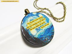 Inspirational Starry Night Van Gogh Art Pendant by BookishCharm.