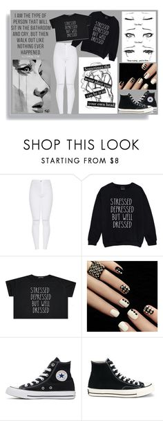 """""""Stressed Depressed But Well Dressed"""" by meagan333 ❤ liked on Polyvore featuring Converse"""