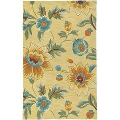 Hand-Hooked Yellow Floral Area Rug (8' x 10') | Overstock.com $370, free shipping