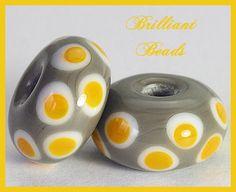 Saffron Yellow & Grey Spacer Bead Pair...Handmade by Gillianbeads, $4.50