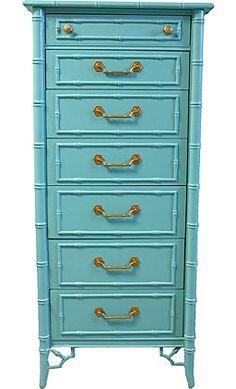 Vintage faux bamboo lingerie dresser in aqua Lacquer Furniture, Bamboo Furniture, Paint Furniture, Furniture Makeover, Cool Furniture, Salvaged Furniture, Furniture Ideas, Beach Furniture, Furniture Cleaning