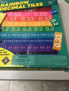 RAINBOW DECIMAL TILES,  HANDS ON TILES WITH TRAY, ACTIVITY GUIDE, AGES 7-UP #LearningResources