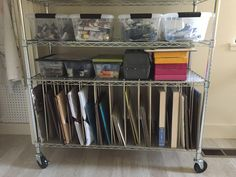 Storage for smaller paintings, made from metallic pegboard and dowels installed in wire shelving from Home Depot. Art Studio Storage, Studio Organization, Art Storage, Storage Ideas, Storage Room, Art Therapy Projects, Painting Studio, Wire Shelving, Small Paintings