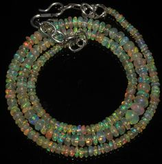 """35 Crts 1 Strands 2 to 5 mm 16"""" Beads necklace Ethiopian Welo Fire Opal  A+1634"""