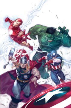 Avengers (Iron Man, Hulk, Thor and Captain America), art by Julian Totino Tedesco Marvel Comic Character, Comic Book Characters, Marvel Characters, Comic Books Art, Comic Art, Thor, Loki, Marvel Dc Comics, Marvel Heroes