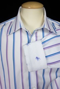 ROBERT GRAHAM Mens Dress Shirt 2XL XXL 18.5 47 Spider Multi-Color Stripe Cotton #RobertGraham