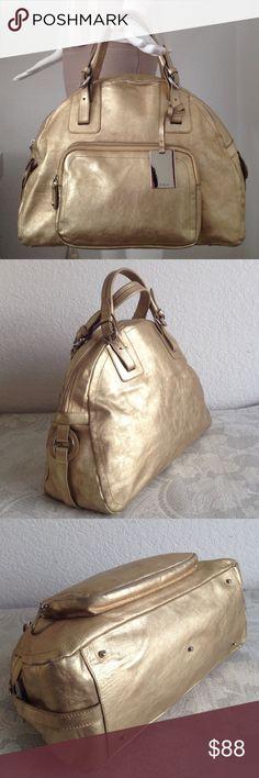 "Fuels gold bag Code: 61735. 100-% leather. 1 zipper pocket inside.     Has sign sign of wear.  Paint got rubbed at corner and  front pocket edge and handle.    Handle drop 5"".  Big bag. Front pocket 9""X11.25""x 6.5"". No Trade!!! Furla Bags Satchels"