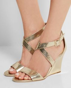 JIMMY CHOO Fearne Metallic Textured-leather Wedge Sandals   Buy ➜ http://shoespost.com/jimmy-choo-fearne-metallic-textured-leather-wedge-sandals/