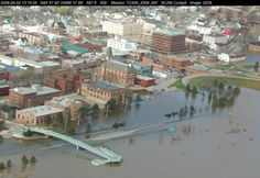 Fredericton during the 2008 flooding, as pictured from the air above the St. John River. (New Brunswick Provincial Archives)