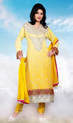 Yellow Georgette Long Churidar Suit Add allure to your personality wearing this yellow shade faux georgette long churidar suit. Embroidered floral patterns all over with decorative neckline and hemline lends looks. #LongChuridarSuit #PakistaniPartyWearSuits