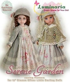 "Doll Clothes Pattern Dress Hat Pinafore for 16/"" My Meadow Mae BJD Luminaria"