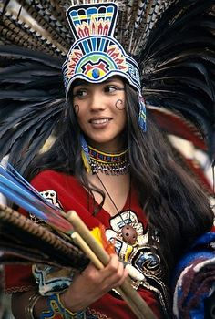 Aztec woman in traditional ceremonial dress.