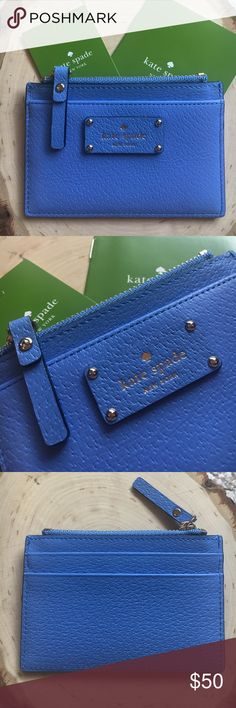 """NWT KATE SPADE ALICE BLUE ADI CARD HOLDER!! NWT KATE SPADE ALICE BLUE ADI CARD HOLDER!! From the """"grove street"""" collection brand new with the tags!! Color: 407 kate spade Bags Wallets"""