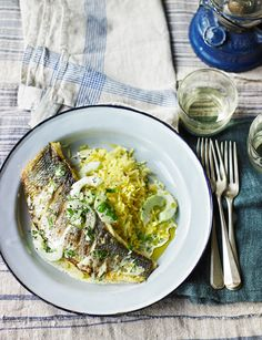 Grilled sea bass with cucumber and basil sauce and saffron pilaf