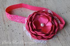 Dark Pink headband  handmade satin flower hair