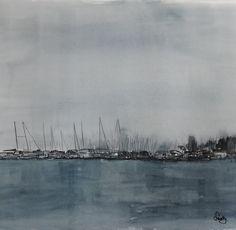 sandysign | Lac Léman sous la pluie Painting, Lake Geneva, In The Rain, Watercolor Artists, Watercolor Painting, Painting Art, Paintings, Painted Canvas, Drawings