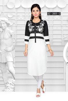 White And Black Kurti