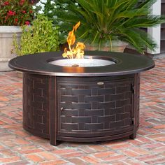 Amazing Fire Sense Perissa Round Propane Fire Pit Patio Table   Woven Cast Aluminum  (#62208) | Fire Pit Patio, Patio Table And Patios