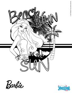 Barbie In The Summer Sun Printable Add Some Colors Of Your Imagination And Make This Nice Colorful