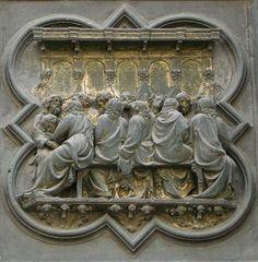 File:12 Ultima cena3. Puerta del Baptisterio de Florencia. Gilberti.