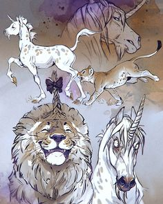 More sketchy nonesence. This time I bring you a posh unicorn and a fanboy lion. Animal Sketches, Animal Drawings, Cute Drawings, Art Sketches, Arte Com Grey's Anatomy, Mythical Creatures Art, Magical Creatures, Art Anime, Creature Concept Art